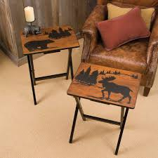 moose and bear tray tables set of 4 tv trays snack tables