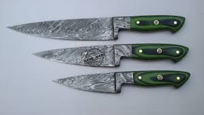 folded steel kitchen knives lot of 3 pcs damascus kitchen chef s knife custom handmade knife