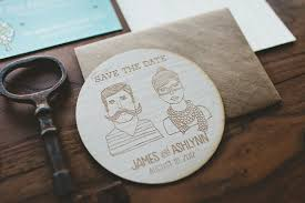 wooden coaster save the date custom illustration