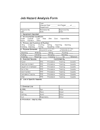 job hazard analysis form job analysis forms pinterest