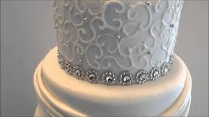 renee u0027s gourmet cake elegant and bling wedding cake youtube