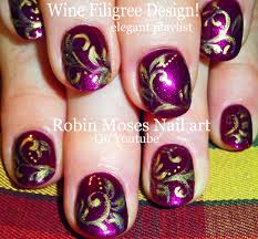 purple nail art wine with gold filigree nails design tutorial