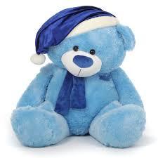 blue santa hat marty shags light blue christmas teddy in blue santa
