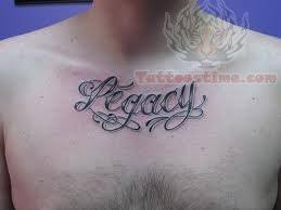 legacy lettering on chest