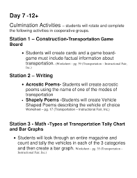 transportation unit lesson plans
