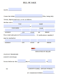 Free Car Bill Of Sale by Free Putnam County Tennessee Bill Of Sale Form Pdf Word Doc