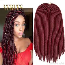 crochet hair wigs for sale 18 inch faux locs crochet hair 130g burgundy dreadlocks braids