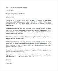 sample email resignation letter 6 documents in pdf word
