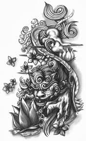 shisa dog half sleeve tattoo design by crisluspotattoos
