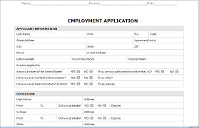 applications template employment application form template sle vlcpeque