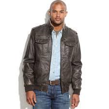 tommy hilfiger men s leather faux sherpa fur military er