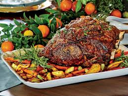 peppercorn crusted standing rib roast with roasted vegetables