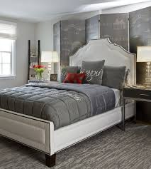 gray bedroom idea with glossy black furniture set also mini