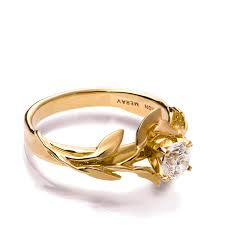 gold ring design leaves engagement ring no 4 18k yellow gold and diamond
