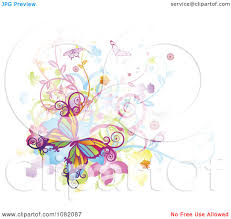 clipart colorful butterflies swirls vines and flowers with grunge