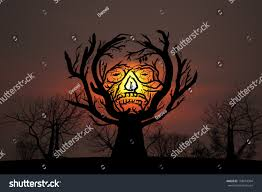 silhouette tree branches shaped like spooky stock photo 158014364