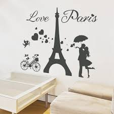 Romantic Love Kiss Paris Eiffel Tower Wall Decals for Kids Room