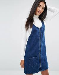 river island river island denim pinafore dress
