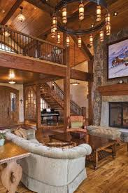 country style home interiors beams wood open stairway with balcony fireplace awesome