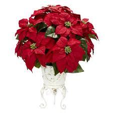 real looking poinsettia w metal planter silk flower arrangement