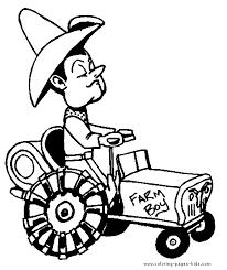 farmer tractor farm color family jobs coloring