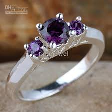 color stones rings images Women 3 stone set purple amethyst engagement band 925 sterling jpg