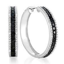 black diamond hoop earrings 1 50 carat black and white diamond hoop earrings netaya