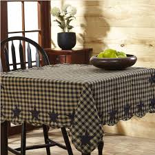 primitive dining room furniture black check u0026 star scalloped table cloth 60