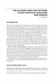 the glasgow coma and outcome scales practical questions and