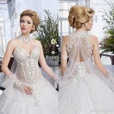 salon mona 2016 ball gown wedding dresses see through pearls