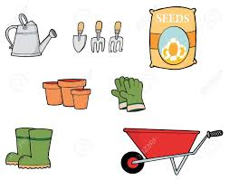 digital collage of gardening tools stock photo picture and