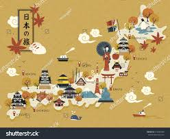 On The Map Japanese Travel Map Historical Landmarks On Stock Vector 475560385