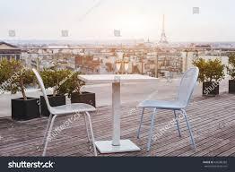 beautiful luxury rooftop restaurant paris panoramic stock photo