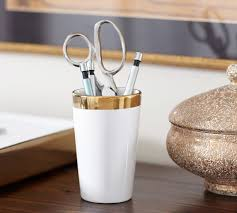 Ceramic Desk Accessories White Gold Pencil Cup West Elm Office Office Pinterest