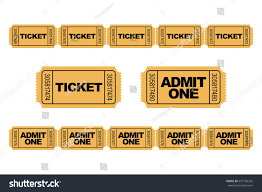 admit one home theater set yellow admit one ticket icons stock vector 657196342