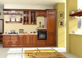 Kitchen Cabinet Design For Apartment Brown Wooden Kitchen Cabinet With White Countertop And Cream