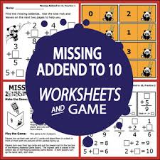 missing addends to 10 worksheets full color addition game