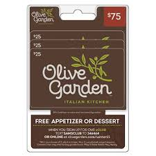 darden restaurants gift cards olive garden 75 value gift cards 3 x 25 and free appetizer or