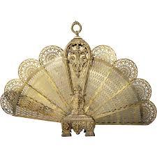 french louis xvi style brass folding fan fireplace screen from