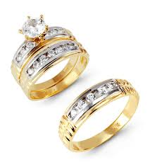 gold bridal set 14k white yellow gold cubic zirconia wedding set trio sets