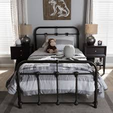 Bed Style by Baxton Studio Mandy Industrial Style Antique Dark Bronze Twin Size