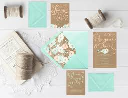 mint wedding invitations kraft wedding invitations w mint flowers with rsvp cards