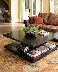 Decorating Ideas For Coffee Tables Creative Idea Living Room Design With Brown Floral Pattern Sofa