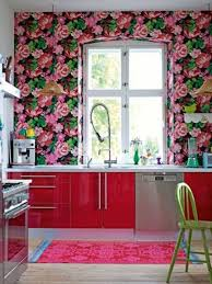 modern floral wallpaper spring interior design for kitchen with floral wallpaper and red