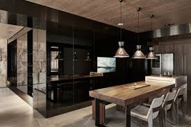 sophisticated modern design apartment with dark color concept