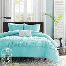aqua ruffle comforter chic teal aqua blue ruffled ruched comforter set pillow twin xl