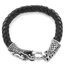 dragon leather bracelet images Crucible men 39 s stainless steel woven leather dragon bracelet jpg