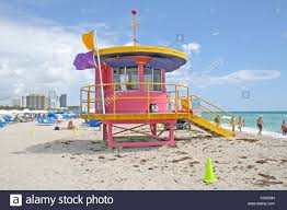colorful lifeguard stand modern art deco architecture miami beach
