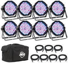 american dj led lights adj mega flat pak 8 plus rgb uv par package 8 pack sweetwater