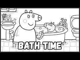 peppa pig mummy pig george bath coloring book pages video